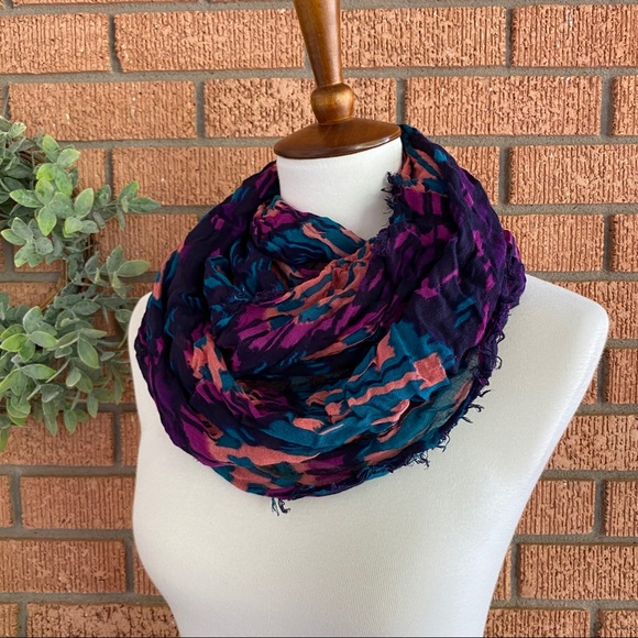 American Eagle Outfitters Accessories - AEO Multicolored Raw Hem Infinity Scarf
